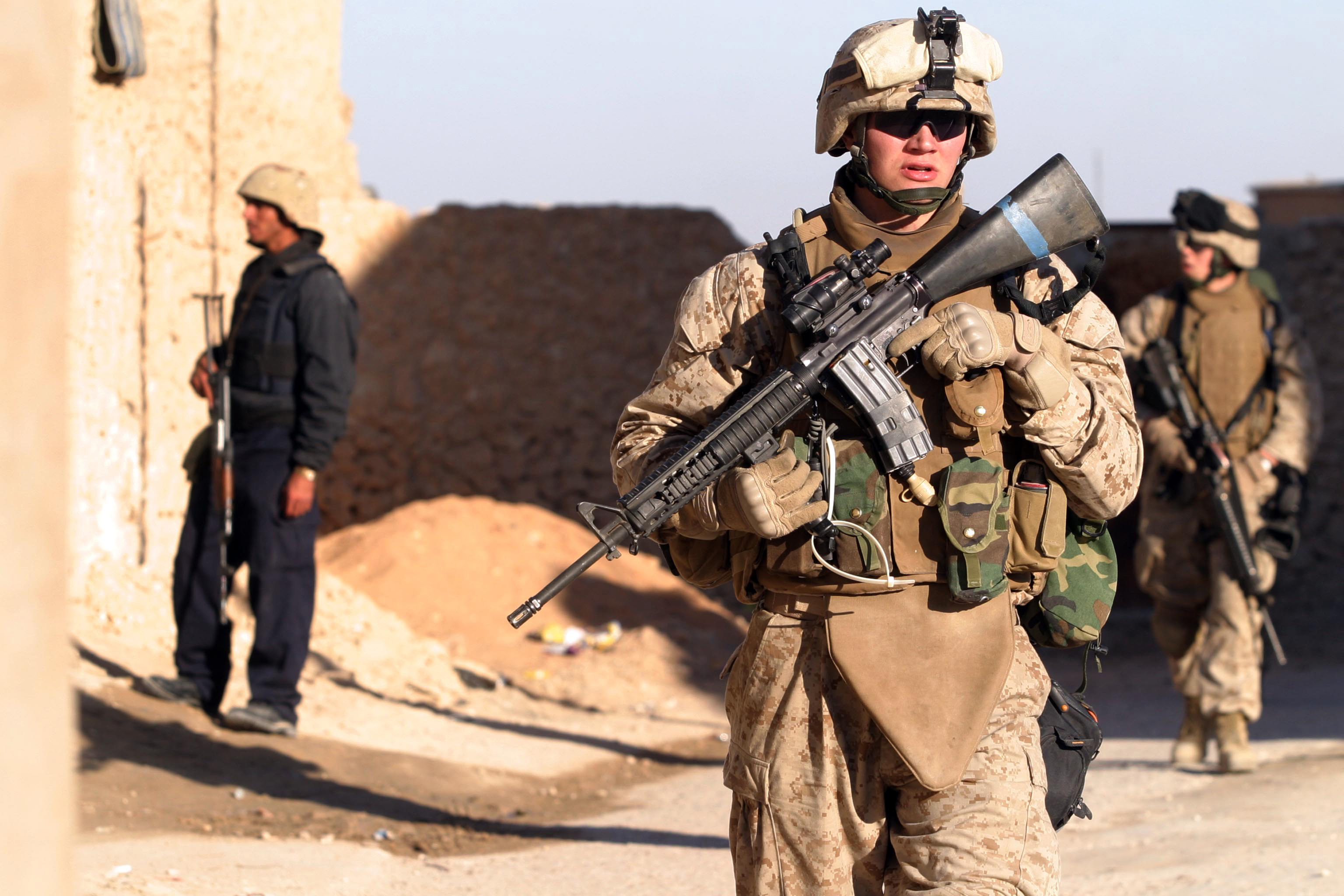A U.S. military personnel and material on patrol in Iraq.